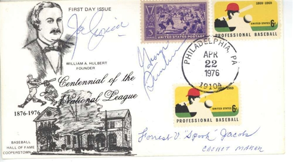 MLB Stars Multi-Signed 1976 NL Centennial First Day Cover (JSA)