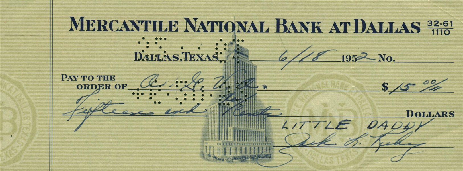 Jack Ruby Uncommon Signed Bank Check (Beckett/BAS Guaranteed)