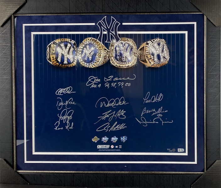 Yankees Dynasty Multi-Signed 4 Rings 16 x 20 Photograph in Framed Display (Steiner & MLB)
