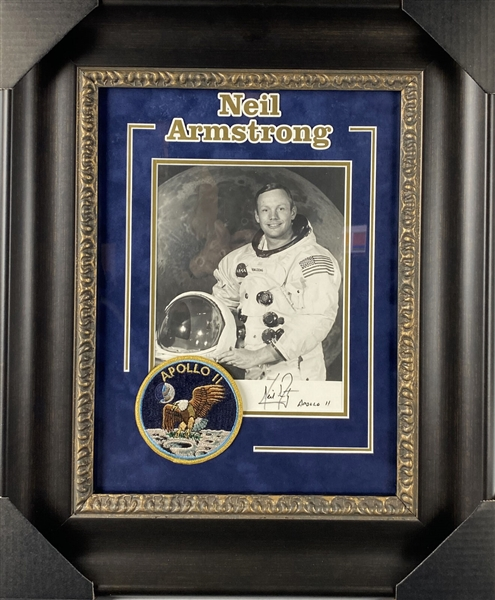 Neil Armstrong Signed 8 x 10 NASA Photograph w/ Apollo 11 Inscription in Custom Framed Display (Beckett/BAS)