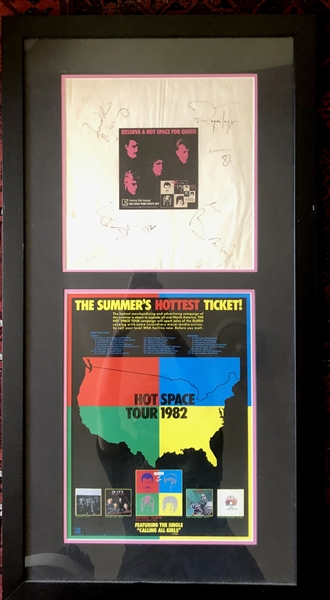 Queen Group Signed Album Sleeve in Custom Framed Display :: Signed During Final US Tour in 1982 (Beckett/BAS Guaranteed)