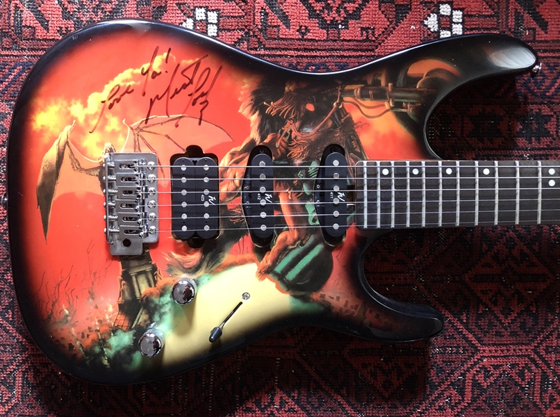Meat Loaf RARE Signed Custom Washburn Bat Out of Hell Electric Guitar (Ex. Columbia Records Exec)(Beckett/BAS Guaranteed)