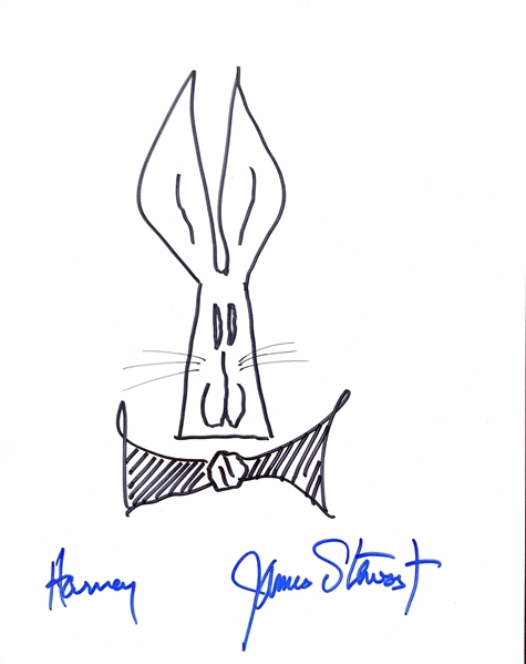 Jimmy Stewart Hand Drawn & Signed Harvey Sketch on 8.5 x 11 Art Board (PSA/DNA)