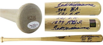 Ted Williams Phenomenal DOUBLE SIGNED Signed H&B Baseball Bat w/3 Handwritten Career Stats! (JSA)