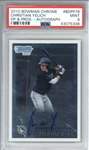 Christian Yelich Signed 2010 Bowman Chrome DP & Pros Rookie Card (PSA Graded MINT 9)