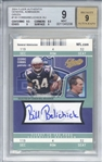 Bill Belichik Signed 2004 Fleer Authentix General Admission Green Cedric Cobbs Card - Beckett/BGS Graded 9 w/ 9 Auto!