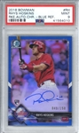 Rhys Hoskins Signed 2018 Bowman Chrome Blue Refractor /150 Rookie Card (PSA Graded MINT 9)