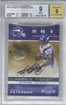 Adrian Peterson Signed 2007 Playoff Contenders /355 Rookie Card (Beckett/BGS Graded 9 w/ 9 Auto)