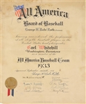 Babe Ruth ULTRA-RARE Signed 1933 All American Baseball Starting Pitcher Certificate (Beckett/BAS)