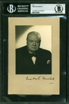 "Winston Churchill ULTRA-RARE Signed 4.5"" x 6.75"" Portrait Photograph (Beckett/BAS Encapsulated)"
