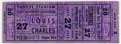Joe Louis vs. Ezzard Charles Original Full On-Site Ticket :: 9/27/1950 @ Yankee Stadium