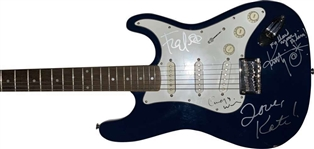 The B-52s Group Signed Squier Style Guitar w/ 4 Signatures! (JSA)