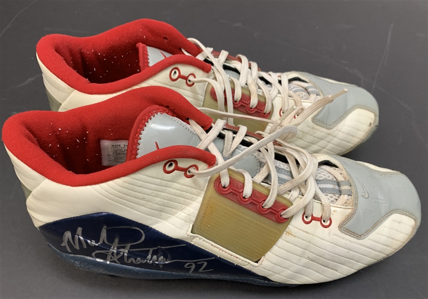 Michael Strahan Signed & Game Worn Oct 19th, 2003 Cleats During 100th Career Sack Game! (Beckett/BAS & Iconic LOA)