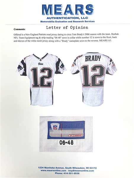 2006 Tom Brady New England Patriots Game Worn & Signed Jersey (TriStar Hologram)(MEARS LOA)