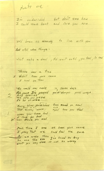 Chuck Berry Handwritten Unpublished Lyrics for Composition Hurts Me (c.1970s)(Beckett/BAS LOA)
