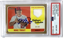 Mike Trout Near-Mint Signed 2018 Topps Heritage Clubhouse Collection Gold /99 Baseball Card - PSA/DNA Gem Mint 10 Autograph!