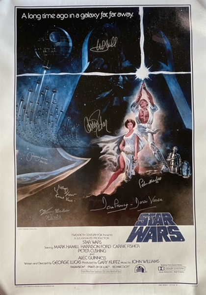 "Star Wars Cast-Signed ""A New Hope"" Hamill, Fisher, Prowse, and More Replica Movie Poster (8 Sigs)"