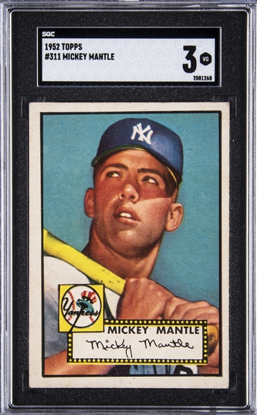 1952 Topps #311 Mickey Mantle Rookie Card :: SGC VG 3 :: Superb Example with Excellent Centering!