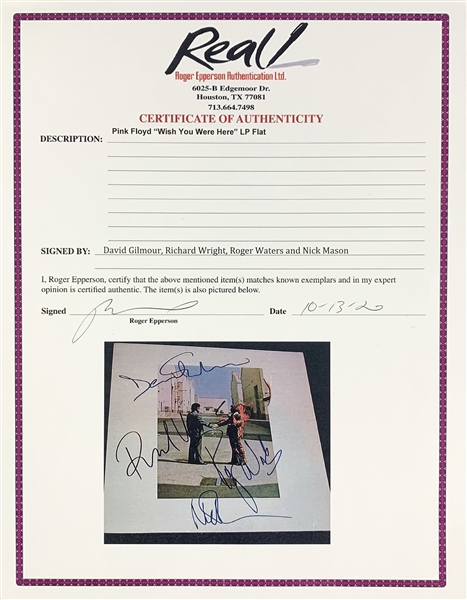 "Pink Floyd: Incredible Band Signed ""Wish You Were Here"" Album Front Cover (Epperson/REAL LOA)"