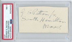 "General George S. Patton 3.5"" x 2"" Signature & Mailing Address Cut (PSA Encapsulated NM 7 Autograph Grade)"