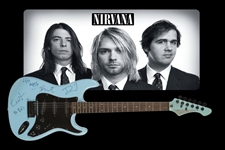 Nirvana Fully Group Signed Blue Stratocaster-Style Guitar (3 Sigs) (Julien's Provenance) (JSA Authentication)