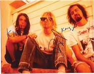 "Nirvana In-Person Group Signed 14"" x 11"" Photograph (3 Sigs) (John Brennan Collection) (Beckett/BAS)"