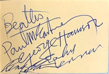 The Beatles Exceptional Group Signed Vintage Mini Album Page - The Finest (and Smallest) Group Set Weve Encountered! (Beckett/BAS GEM MINT 10)