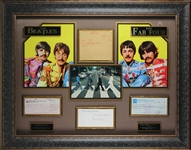 "The Beatles Group Signed 36"" x 27"" Display w/ All Four Members & John Lennon Sketch! (JSA)"