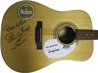 The Beatles Drummers: Ringo Starr, Pete Best & Andy White Unique Signed Acoustic Guitar (Beckett/BAS)